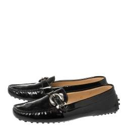 Tod's Black Patent Leather Buckle Loafers Size 38