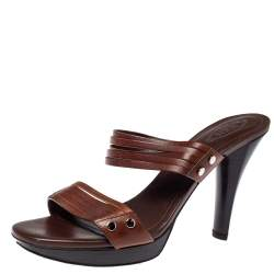 Tod's Dark Brown Leather Strappy Slide Sandals Size 41