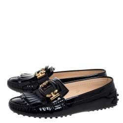 Tod's Black Patent Leather Fringe Detail Loafers Size 37
