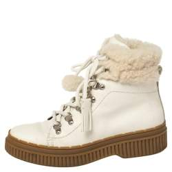 Tod's Ivory Leather and Shearling Lace Up Ankle Boots Size 36