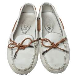 Tod's White Leather Gommino Driving Bow Loafers Size 36.5
