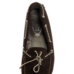 Tod's Dark Brown Suede Gommino Slip On Loafers Size 38.5