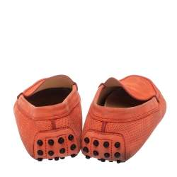 Tod's Coral Red Perforated Suede Loafers Size 39