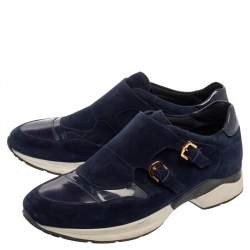 Tod's Navy Blue Suede And Patent Leather Double Buckle Sneakers Size 38