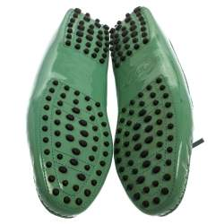 Tod's Green Patent Leather Bow Slip On Loafers Size 40