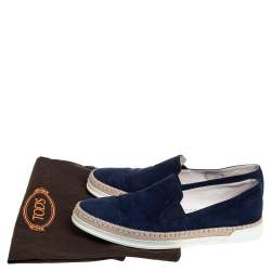 Tod's Navy Blue Suede Espadrille Slip On Sneakers Size 39.5