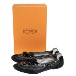 Tod's Black Suede And Patent Leather Lace up Sneakers Size 38