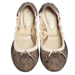 Tod's Two Tone Lace Bow Scrunch Ballet Flats Size 41