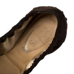Tod's Brown Suede Bow Scrunch Ballet Flats Size 40.5