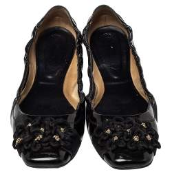 Tod's Black Patent Leather And Suede Flower Scrunch Ballet Flats Size 40