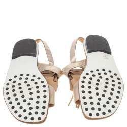 Tod's Metallic Gold Leather Fringe Slingback Flat Sandals Size 37