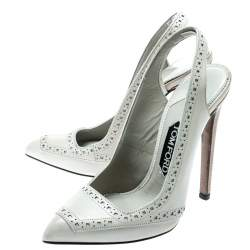 Tom Ford Light Grey Leather Pointed Toe Slingback Sandals Size 37.5