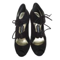 Tom Ford Black Suede Open Toe Ankle Booties Size 40