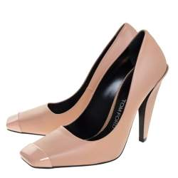 Tom Ford Beige Leather Square Toe Pumps Size 38.5