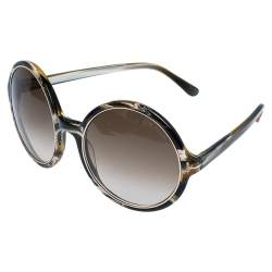 Tom Ford Green/White Gradient TF268 Carrie Round Oversized Sunglasses