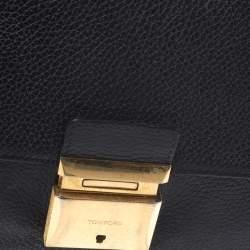 حقيبة كلتش توم فورد بسوار جلد سوداء