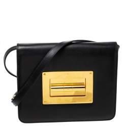 Tom Ford Black Leather Large Natalia Shoulder Bag