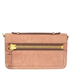 Tom Ford Nude Pink Suede Zip Detail Flap Clutch Bag