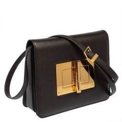 Tom Ford Chocolate Brown Leather Large Natalia Shoulder Bag