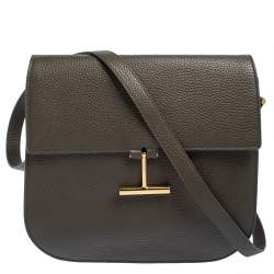 Tom Ford Dark Olive Green Leather Tara Crossbody Bag