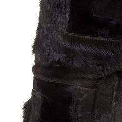 Tom Ford Black Geometric Patchwork Fur and Suede Over The Knee Boots Size 38.5