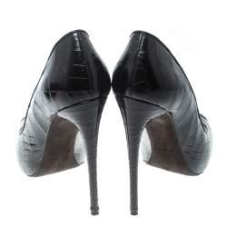 Tom Ford Black Croc Embossed Leather Peep Toe Pumps Size 37