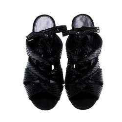 Tom Ford Black Sequin And Suede Trim Antique Crossover Sandals Size 39