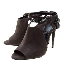 Tom Ford Grey Suede Peep Toe Ankle Strap Sandals Size 37