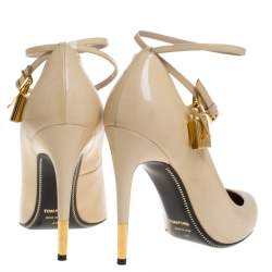 Tom Ford Beige Patent Leather Padlock Ankle Wrap Pointed Toe Pumps Size 40