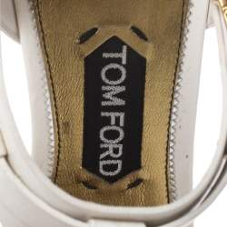 Tom Ford White/Black Leather T-Bar Ankle Strap Sandals Size 40