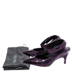 Tom Ford Plum Snakeskin Pointed Toe Cut Out Heel Pumps Size 37.5