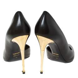 Tom Ford Olive Green D'Orsay Leather Pointed Toe Pumps Size 40