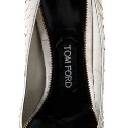 Tom Ford White Python Leather Padlock Ankle Strap Pointed Toe Pumps Size 38.5