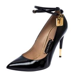 Tom Ford Black Leather Padlock Ankle-Wrap Pointed Toe Pumps Size 37