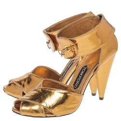 Tom Ford Metallic Bronze Leather Ankle Cuff Sandals Size 37.5