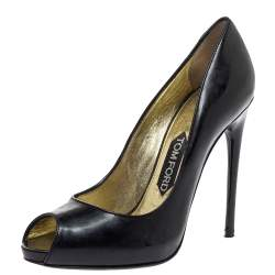 Tom Ford Black Patent Leather Peep Toe Pumps Size 37.5