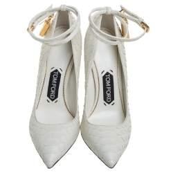 Tom Ford White Python Padlock Ankle Strap Pointed Toe Pumps Size 36
