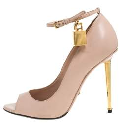 Tom Ford Dusty Pink Leather Padlock Peep Toe Pumps Size 36.5