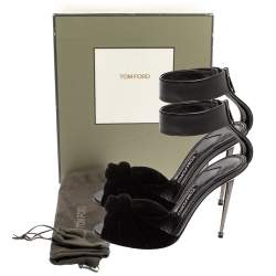 Tom Ford Black Leather And Velvet Knotted Sandals Size 37.5