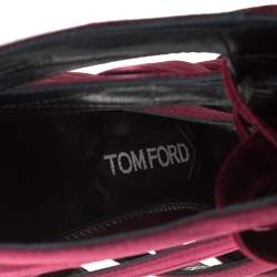 Tom Ford Burgundy Satin And Velvet Lace-up Sandals Size 38.5