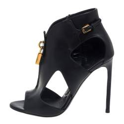 Tom Ford Black Leather Lock Booties Size 38