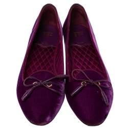 Tom Ford Purple Velvet Bow Almond Toe Ballet Flats Size 39