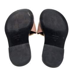 Tom Ford Beige Leather Logo Embellished Flat Slides Size 36