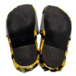 Tom Ford Yellow/Black Crystal Embellished And Leopard Print Fur Slides Size 35
