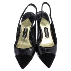 Tom Ford Black Lizard Embossed Leather And Suede Slingback Pumps Size 40