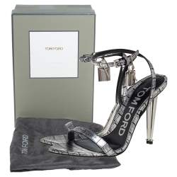 Tom Ford Silver Embossed Leather Padlock Pointy Naked Sandals Size 37
