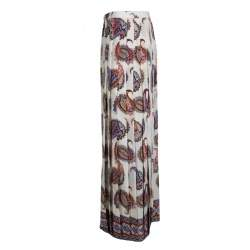 Tory Burch New Ivory Dapper Paisley Print Pleated Silk Maxi Skirt L