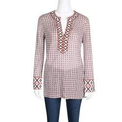 Tory Burch Printed Cotton Embroidered Tape Detail Brent Tunic S