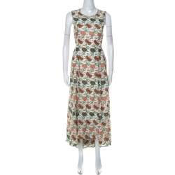 Tory Burch Multicolor Foral Print Silk Open Back Kendall Dress S