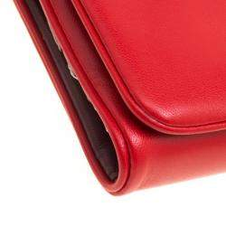 Tory Burch Coral Red Leather Beau Wristlet